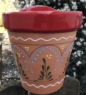 Wandblumentopf fliligran bemalt rot