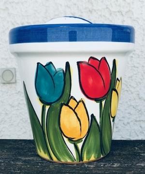 Wandblumentopf, glasiert mit Tulpen