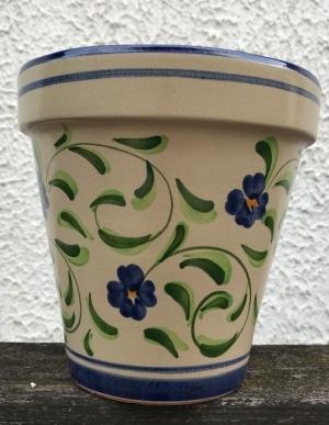 Wandblumentopf beige mit blauen Blümchen