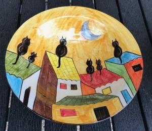 Dekoschale, Obstschale - Dorf mit Katzen