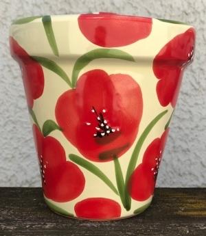 Wandblumentopf, glasiert mit Mohnblumen, Untergrund cremeweiss