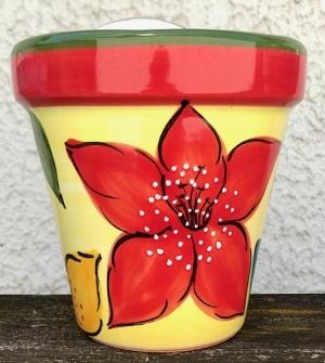 """""""Wandblumentopf, glasiert, Untergrund gelb mit roter Blüte"""""""